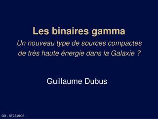 Les binaires gamma Un nouveau type de sources compactes  de très haute énergie dans la Galaxie ?