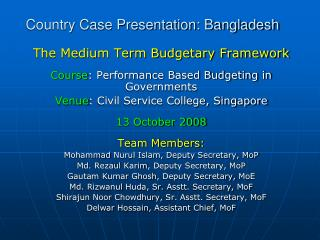 Country Case Presentation: Bangladesh