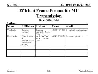 Efficient Frame Format for MU Transmission