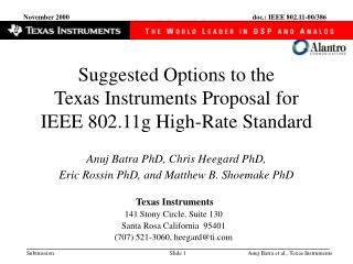 Suggested Options to the  Texas Instruments Proposal for  IEEE 802.11g High-Rate Standard
