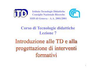 Introduzione alle TD e alla progettazione di interventi formativi