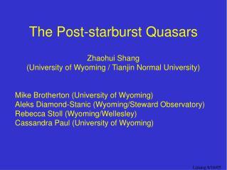 The Post-starburst Quasars