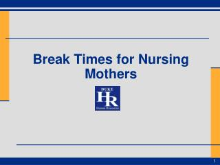 Break Times for Nursing Mothers