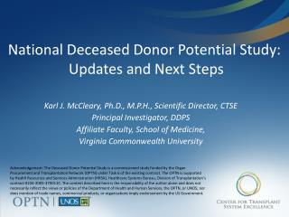 National Deceased Donor Potential Study:  Updates and Next Steps