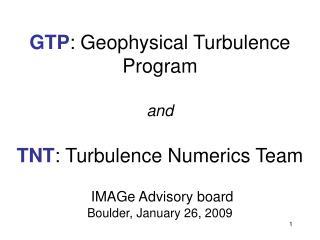 Geophysical Turbulence  Program