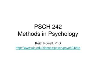 PSCH 242 Methods in Psychology