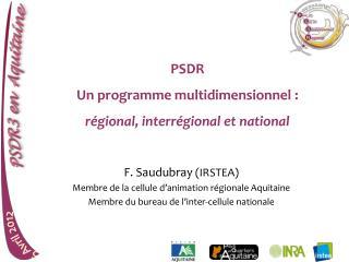 PSDR Un programme multidimensionnel : régional, interrégional et national