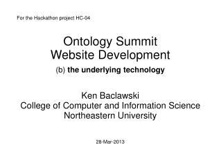 Ontology Summit  Website Development (b)  the underlying technology