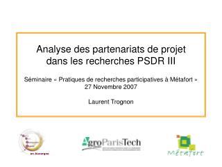 Analyse des partenariats de projet dans les recherches PSDR III