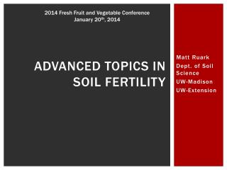 Advanced topics in soil fertility