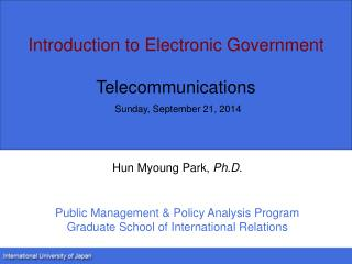 Introduction to Electronic Government Telec ommunications Sunday, September 21, 2014