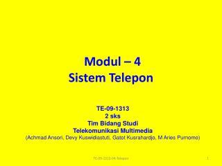 Modul – 4 Sistem Telepon