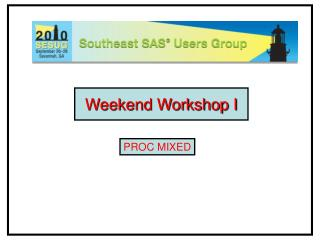 Weekend Workshop I