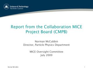 Report from the Collaboration MICE Project Board (CMPB)