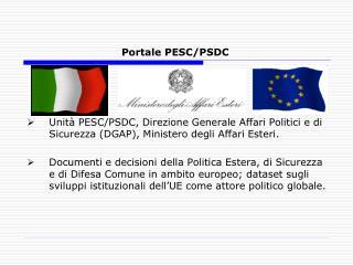 Portale PESC/PSDC