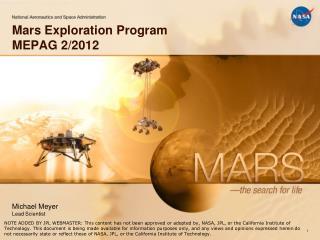 Mars Exploration Program MEPAG 2/2012