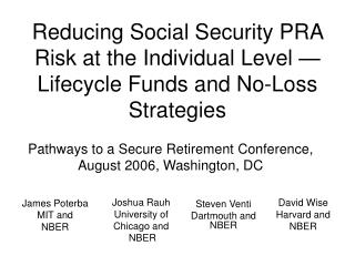 Reducing Social Security PRA Risk at the Individual Level — Lifecycle Funds and No-Loss Strategies
