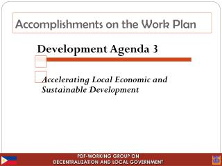 Accomplishments on the Work Plan