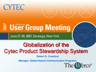Globalization of the  Cytec Product Stewardship System