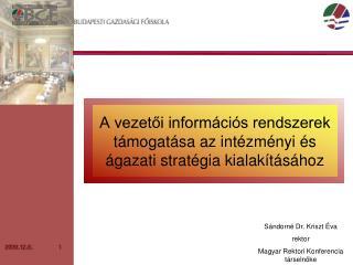 A vezetői információs rendszerek támogatása az intézményi és ágazati stratégia kialakításához
