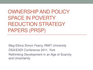 Ownership and Policy Space in Poverty reduction strategy papers (PRSP)