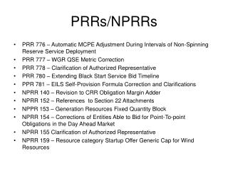 PRRs/NPRRs