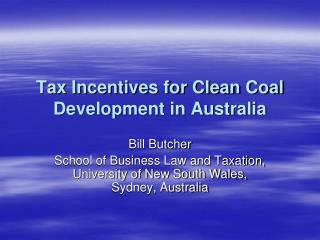 Tax Incentives for Clean Coal Development in Australia