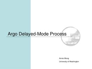 Argo Delayed-Mode Process
