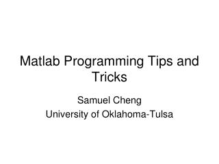 Matlab Programming Tips and Tricks