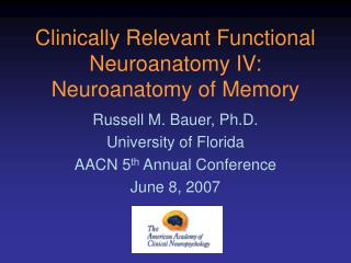 Clinically Relevant Functional Neuroanatomy IV:  Neuroanatomy of Memory