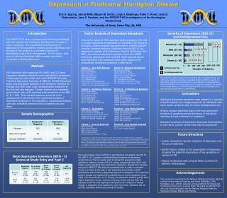 Depression in  Prodromal Huntigton  Disease
