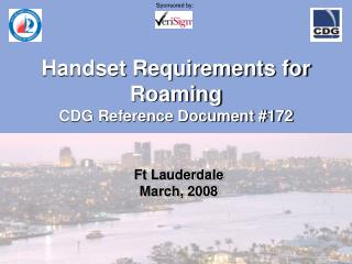 Handset Requirements for Roaming CDG Reference Document #172