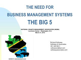 THE NEED FOR BUSINESS MANAGEMENT SYSTEMS THE BIG 5