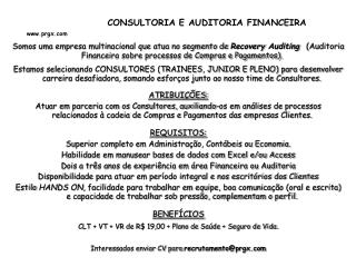 CONSULTORIA E AUDITORIA FINANCEIRA