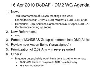 16 Apr 2010 DoDAF - DM2 WG Agenda