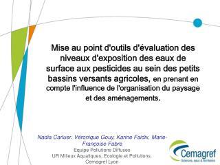 Nadia Carluer. Véronique Gouy, Karine Faidix, Marie-Françoise Fabre Equipe Pollutions Diffuses
