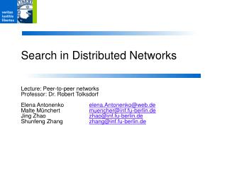 Search in Distributed Networks