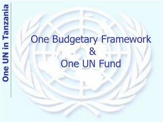 One Budgetary Framework  & One UN Fund