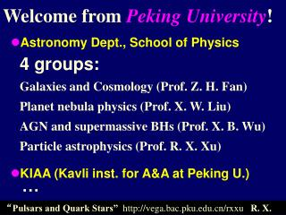Welcome from  Peking University !