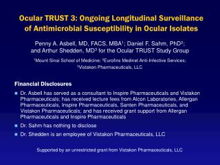 Ocular TRUST 3: Ongoing Longitudinal Surveillance  of Antimicrobial Susceptibility in Ocular Isolates