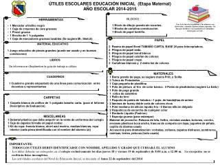 ÚTILES ESCOLARES EDUCACIÓN INICIAL  (Etapa  Maternal) AÑO ESCOLAR 2014-2015