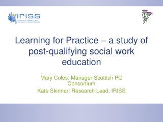 Learning for Practice – a study of post-qualifying social work education