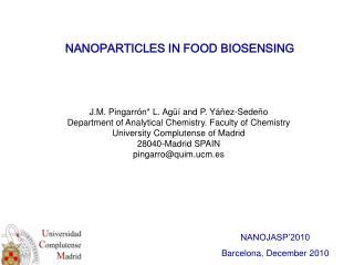 NANOPARTICLES IN FOOD BIOSENSING