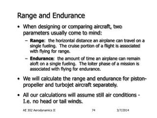 Range and Endurance