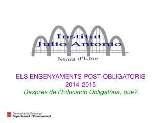 ELS ENSENYAMENTS POST-OBLIGATORIS 2014-2015  Després de l'Educació Obligatòria, què?