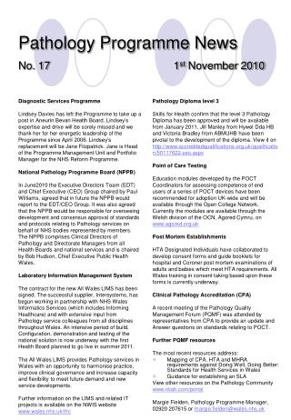 Pathology Programme News No. 17 1 st  November 2010