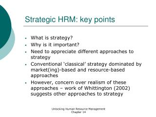 Strategic HRM: key points