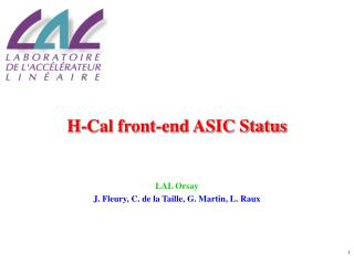 H-Cal front-end ASIC Status