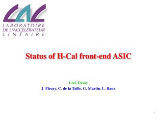Status of H-Cal front-end ASIC