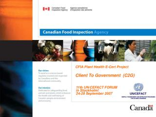 CFIA Plant Health E-Cert Project  Client To Government  (C2G)